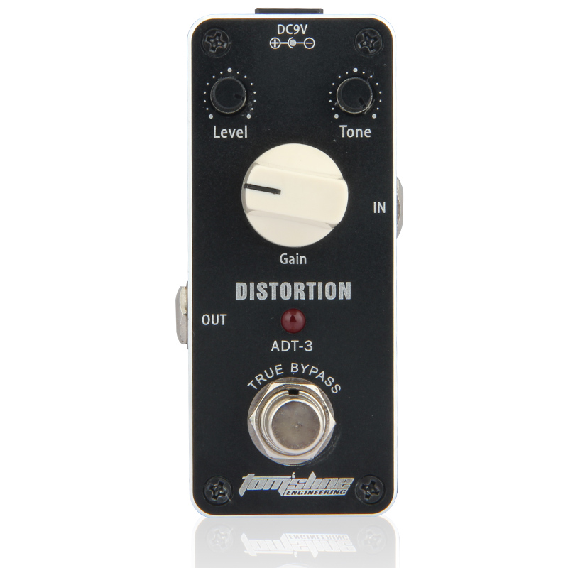 MINI Distortion Effect Pedal Aroma ADT 3 Distortion AC/DC Adapter Jack True bypass guitar Level Tone Gain Knob Pedal Switch