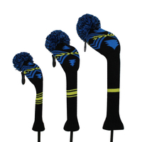 Personalized Abstract Pattern Knit Golf Headcovers for Driver Wood,Fairway Wood and Hybrid, with number tag 1#3#5#