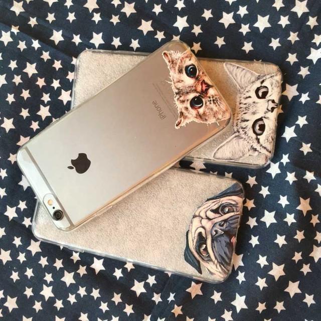 Cute Cartoon Animal Cat Dog Bulldog Phone Case For iPhone 6 6s Plus 4.7″ 5.5″
