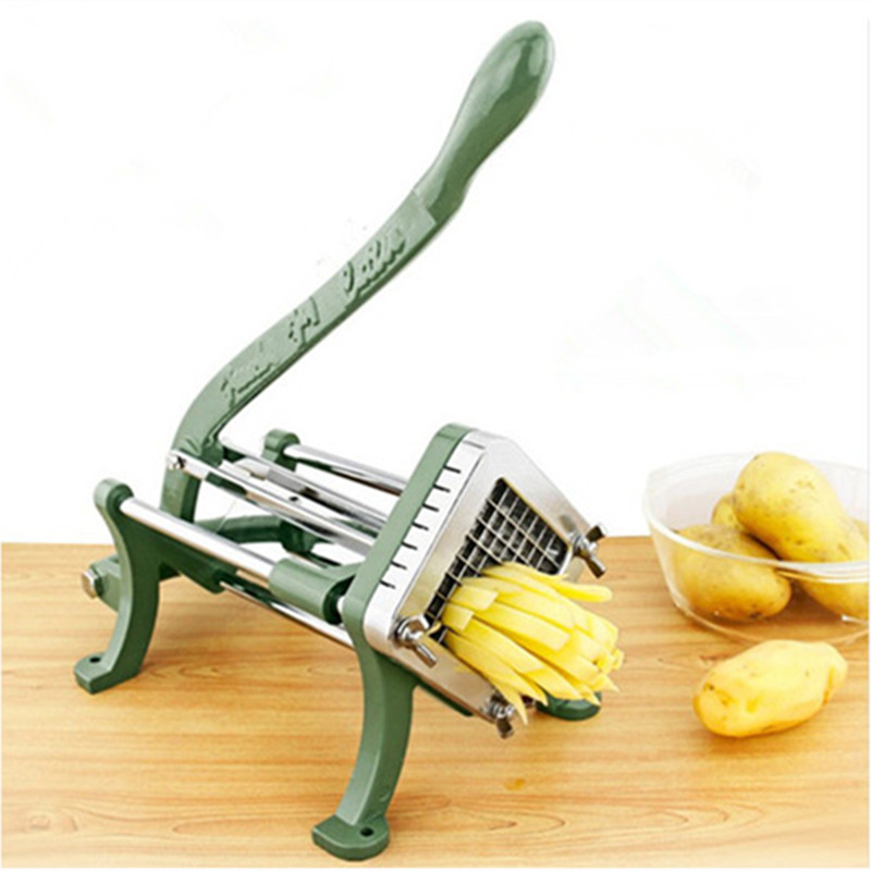 Acier inoxydable usage domestique manuel frites cutter pomme de terre, pommes de terre chips bande coupe machine main presse fruits légumes trancheuse - 3