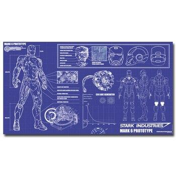 Плакат гобелен шелковый Железный человек схема