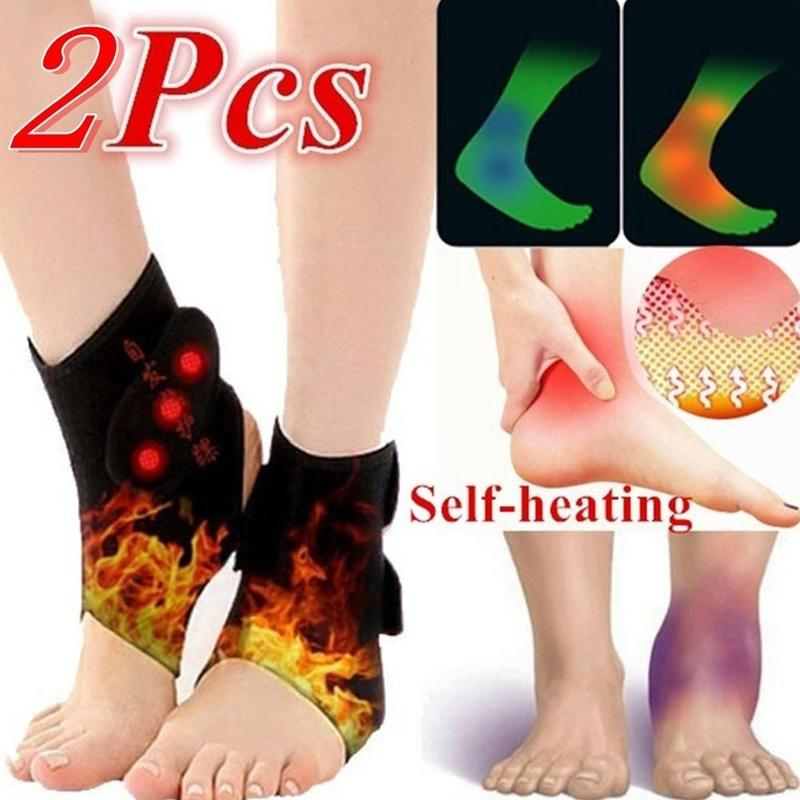 1 Pair Adjustable Ankle Support Guard Tourmaline Self-heating Magnetic Therapy Ankle Brace Compression Straps For Pain Relief