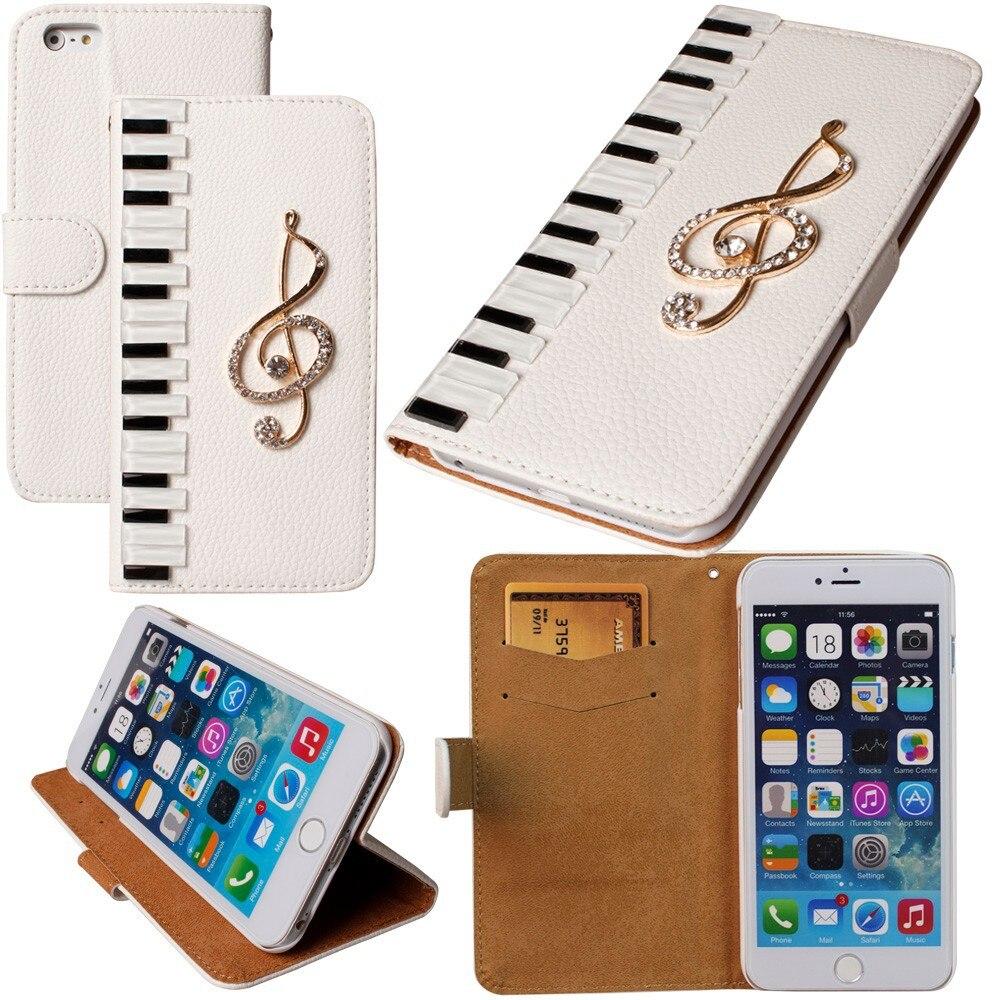 Dower Mich Klavier Musikalische Diamant Ledertasche Für iPhone X 8 7 6 Plus 5 5C 4 Samsung Galaxy S9/8/7/6 Rand Plus S5/4/3 Hinweis 8 5 4 3