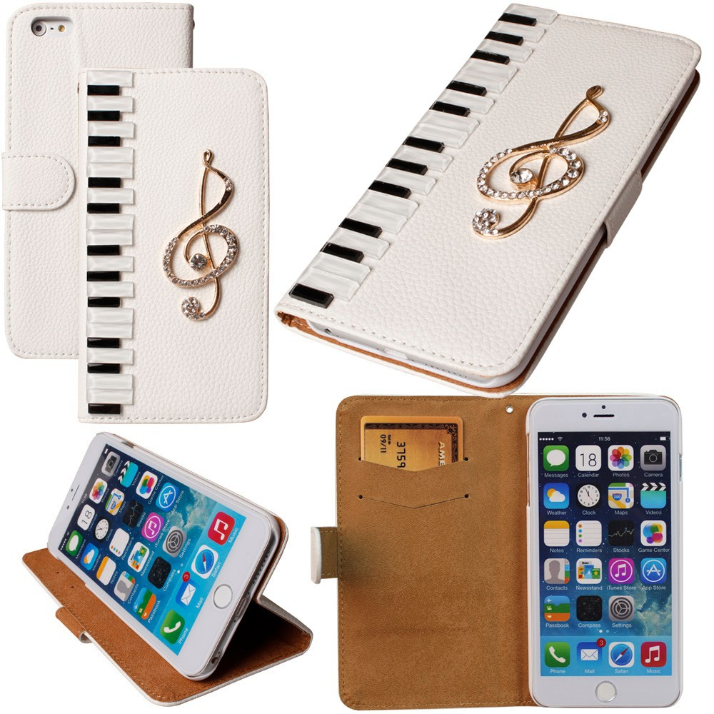 Dower me Pianos musical cuero del diamante para el iPhone x 8 7 6 más 5 5C 4 samsung galaxy S9 /8/7/6 Edge Plus S5/4/3 Nota 8 5 4 3