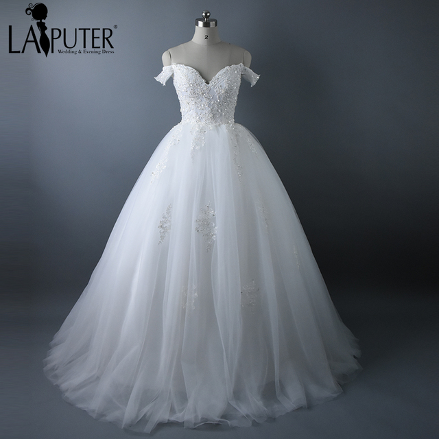 Laiputer Design 2017 Real Photos Ivory Lace Appliques Ball Gown Lace ...