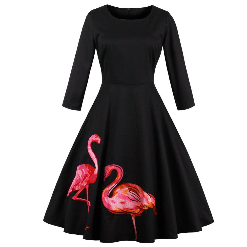 Kenancy Plus Size 4XL Black Embroidery Flamingo Print Party Vintage Dress  Long Sleeves O Neck Vestidos Elegant Style Retro Dress-in Dresses from  Women s ... 9b8ddf934664