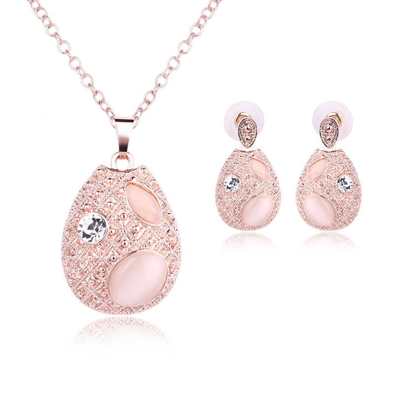 Fashion Pink Round Crystal Pendant Necklace 2 Piece Set Jewelry Necklace Earrings Bridal Female Rose Gold Chain Gifts