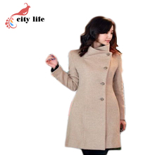 Autumn And Winter Coat Women Hot long-sleeved Woolen Coat Thick Black And Gery Solid Slim Fashion Coat Warm Outwear casaco