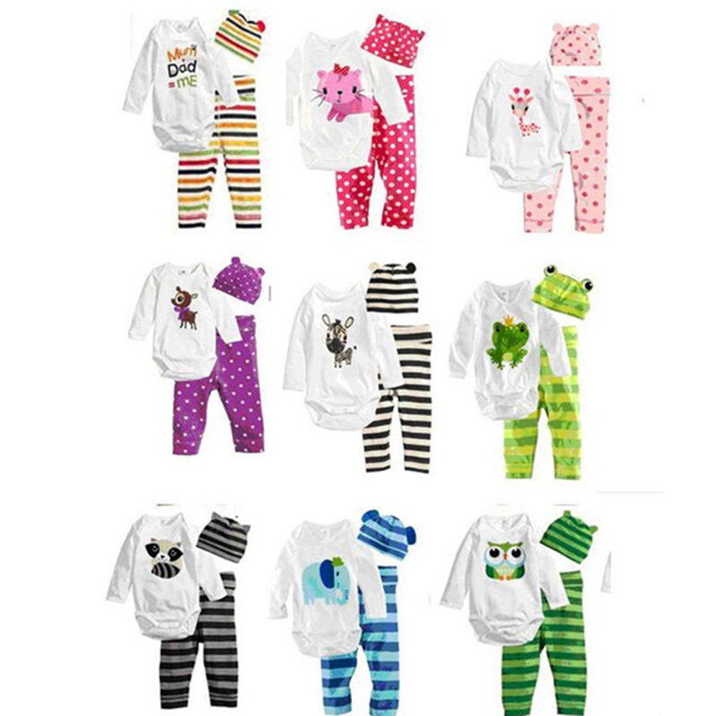 2017 new Autumn children clothing sets tops t shirt kids rompers+ pants+ hat  baby boys girls 3 pcs suit
