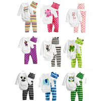 2016 New Autumn Children Clothing Sets Tops T Shirt Kids Rompers Pants Hat Baby Boys Girls