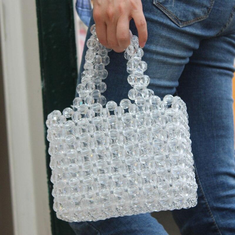 Tote-Bags Pink Handbags Handmade Purses Clear Girls Korean Women Luxury Sweet for Beads