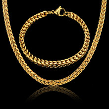 New Style 4MM Width Chain Necklace & Bracelet Set For Men Gift Wholesale African Dubai Gold Color Stainless Steel Jewelry Sets(China)