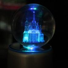 custom cheap price 3d laser engraving church pattern glass crystal ball craft for home decoration and business gift