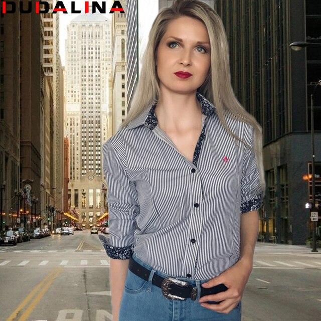 f1ad8ebd5de Dudalina Floral Bordado Algodão Blusa Moda Feminina Camisa Listrada de  Manga Longa Azul Camisas Longas Camisa