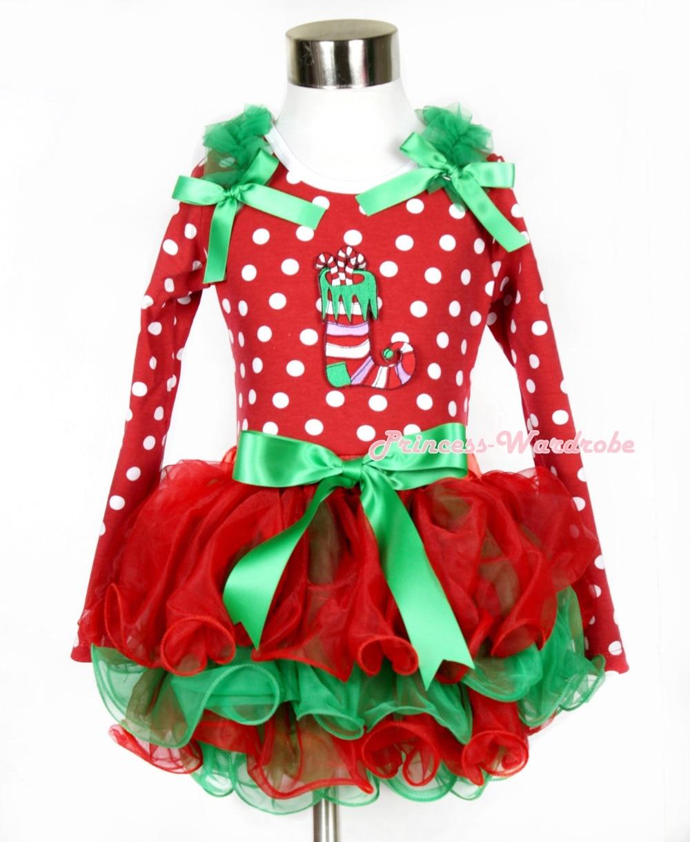 Xmas Kelly Green Bow Red Green Petal Pettiskirt Minnie Dots Long Sleeve Top Kelly Green Ruffles Bow Christmas Stocking MAMW319 kiniki kelly tanga mens
