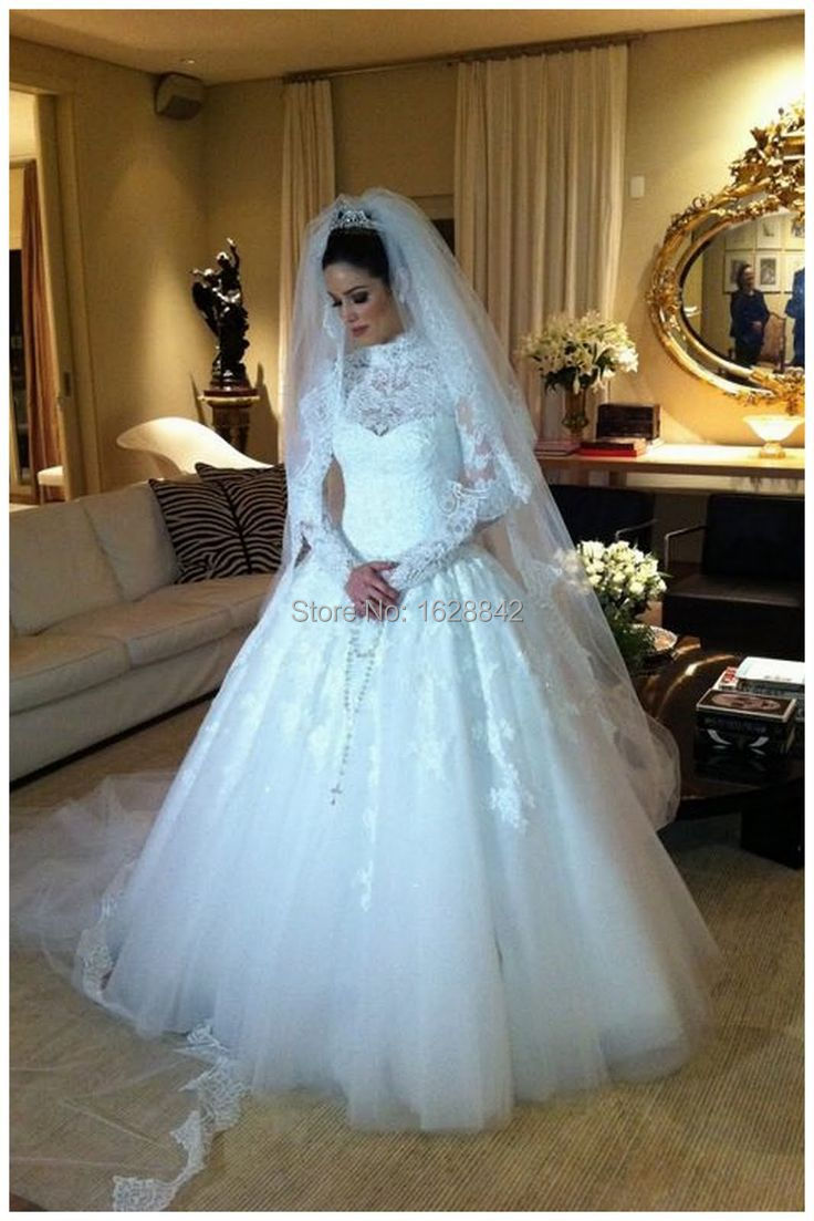 Muslim wedding dress 2016 long sleeve lace wedding dresses wedding ...
