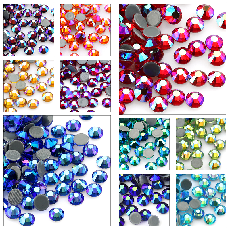 SS6-SS30 Multi-color Crystal AB Hot Fix Rhinestone Crystal Super Glitter Strass Iron On Rhinestones For Nail Art Fabric Garment