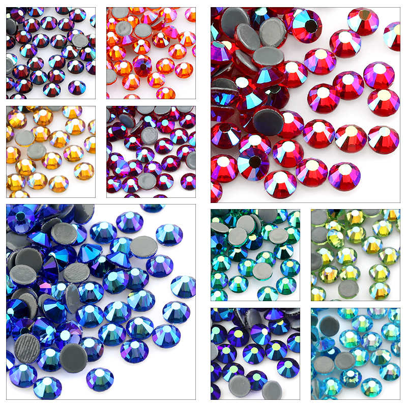 SS6-SS30 Multi-kleur Crystal AB Hot Fix Rhinestone Crystal Super Glitter Strass Iron On Rhinestones Voor Nail Art Stof kledingstuk