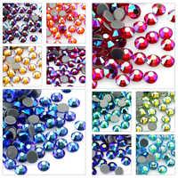 SS6-SS30 Multi-farbe Kristall AB Hot Fix Strass Kristall Super Glitter Strass Eisen Auf Strass Für Nagel Kunst Stoff kleidungsstück