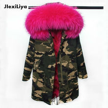 2016 New Fashion women's army camouflage Large raccoon fur collar hooded long coat parkas outwear Fox fur lining winter jackets