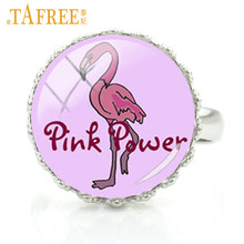 TAFREE Pink Power Rings lovely Flamingo Feathers bird personalized Rhodium Plated a great gift high quality jewelry NS443(China)