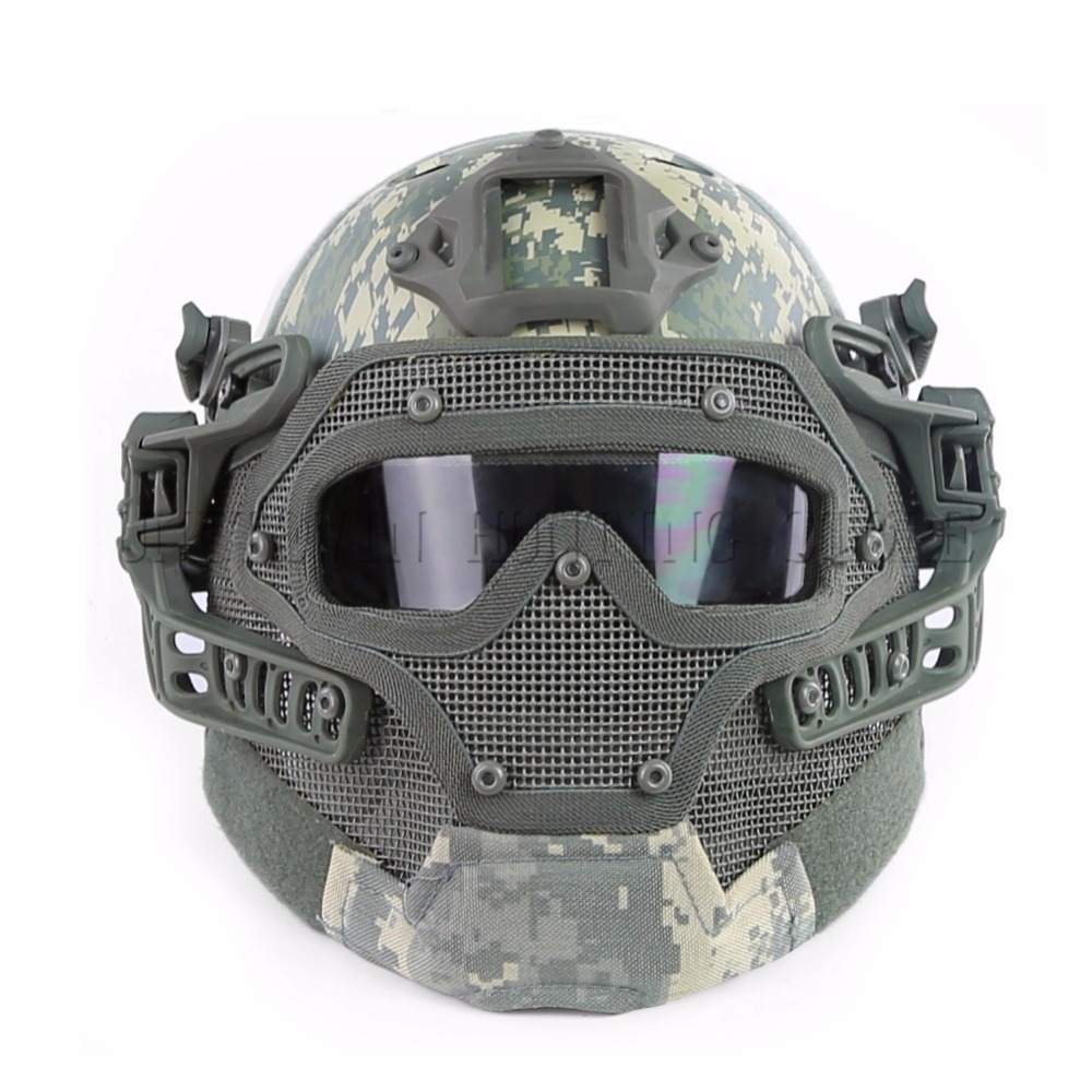 Outdoor Hunting PJ Type FAST Tactical Helmet Integrated With Full Mask And Goggles Shooting Paintball Helmet kryptek green pj type fast molle tactical helmet combined with full mask and goggles for airsoft paintball cs hunting