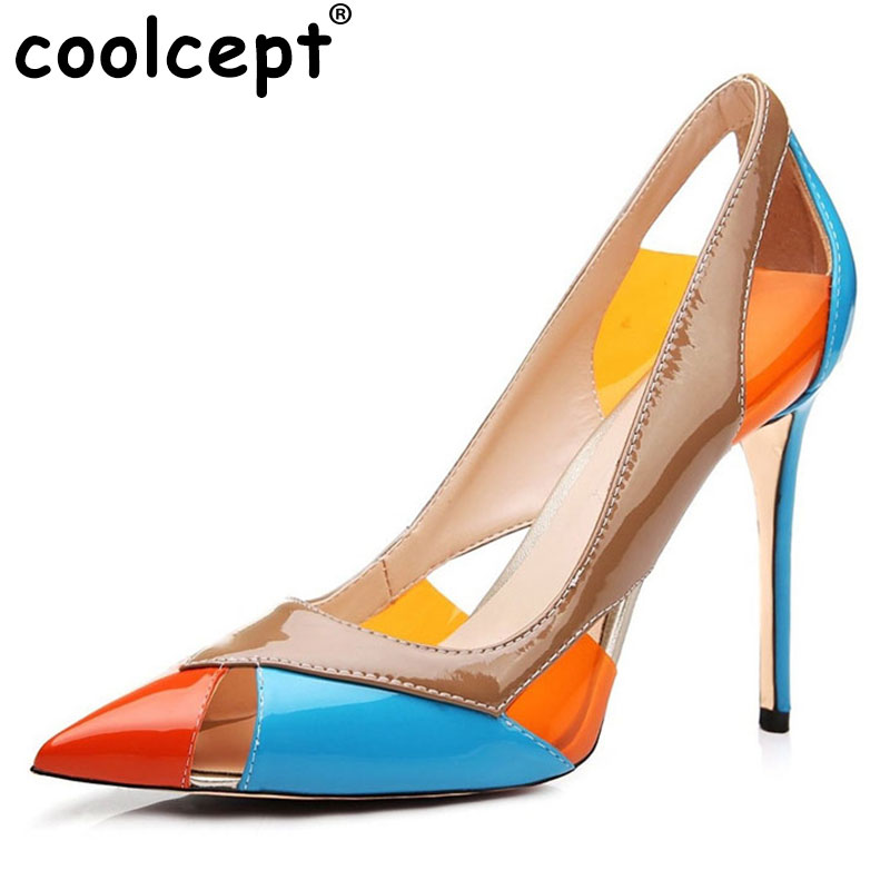 Coolcept Women High Heel Shoes Pionted Toe Pumps Cut out Mix Color Wedding Party Dress Shoes Ladies Footwear Size 35-46 B148 fashion designer women high heel sandals mixed color strap cut out pumps heel elegant ladies weeding dress shoes real photo