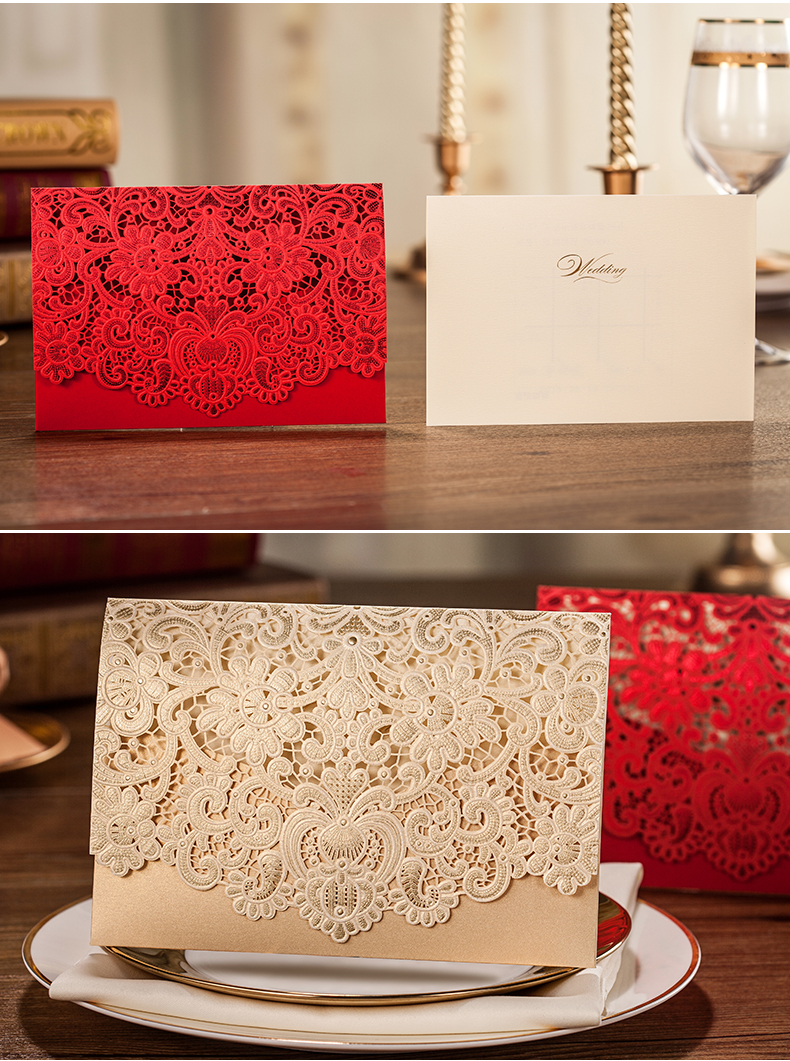 Red Gold Laser Cut Wedding Invitation Card with Embossed Flower ...