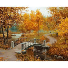 Full autumn scenery Diamond embroidery Bridges forest Diamond painting Yellow plant cross stitch Square drill Mosaic picture