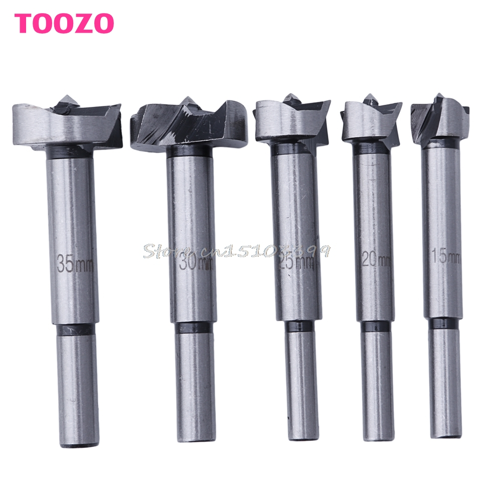 5Pcs/Set Wood Drill Bit Wood Drills Boring Hole Saw Cutter Tool 15/20/25/30/35mm #G205M# Best Quality new 50mm concrete cement wall hole saw set with drill bit 200mm rod wrench for power tool