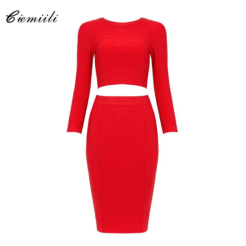 CIEMIILI New Fashion Back Zipper Celebrity Bandage Women 2 Pieces 2018 Full Sleeves O Neck Top Knee Length Bodycon Skirts BM1202