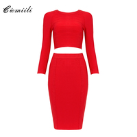 CIEMIILI New Fashion Back Zipper Celebrity Bandage Women 2 Pieces 2017 Full Sleeves O Neck Top