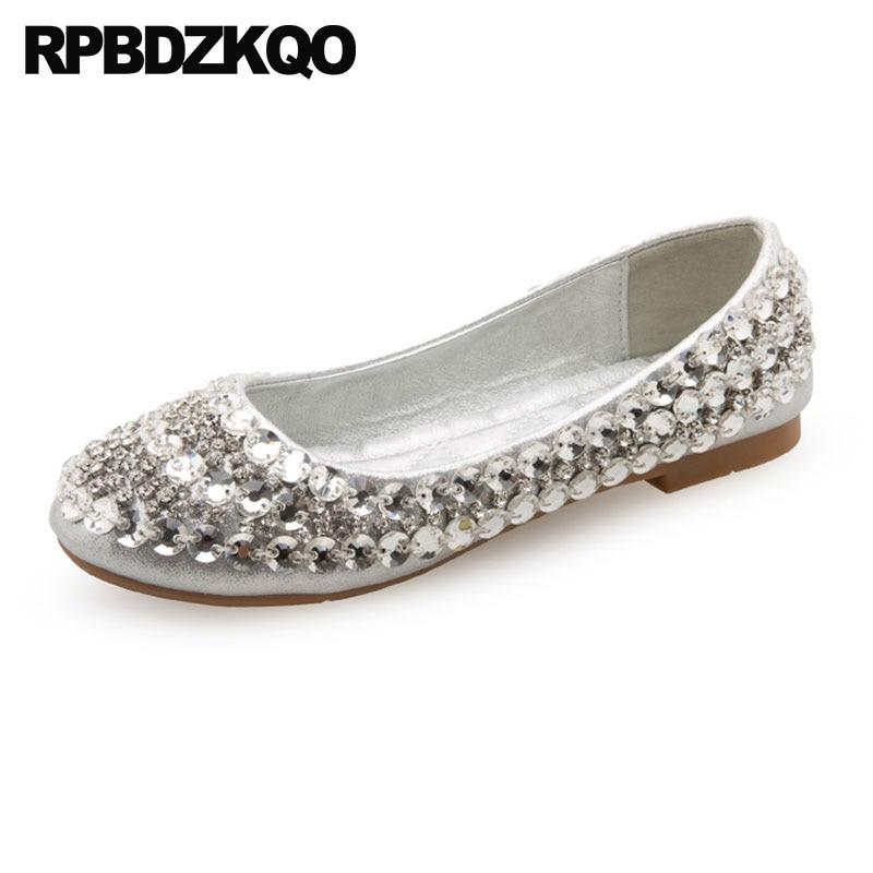 Wedding Ballet Shoes Silver Ballerina Flats Dress Metallic Rhinestone  Crystal China Round Toe Bling Diamond Women Cinderella b5b7cbd24