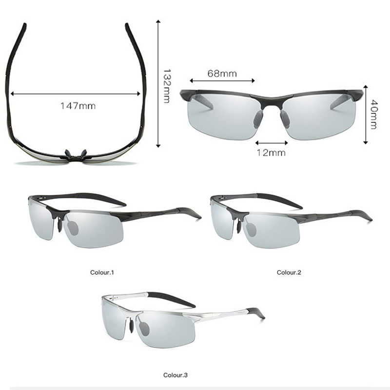 dd422323c3 UV400 Rectangle HD Clear TAC Photochromic Sunglasses Men Polarized for Driving  Half Frame Vintage Shades Mens Sun Glasses-in Sunglasses from Apparel ...