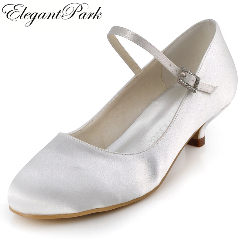 WM-003 White Ivory Round Toe Elegant Low Heel Satin Flats Bridal Wedding Party Prom Shoes kwikset 85063 003 1x 2 1 4 satin chrome round corner deadbolt strike