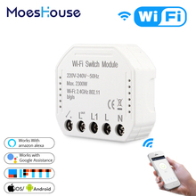 Wifi Smart Light Switch Diy Breaker Module Smart Life/Tuya APP Remote Control,Works with Alexa Echo Google Home 1/2 Way