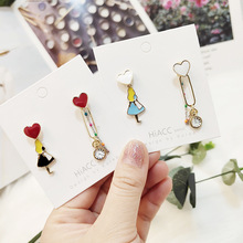 Women Cartoon Alice Clock Chains Cute Anti-allergy Drop Dangle Earrings Korea Handmade Fashion Jewelry Gift Holiday-JQD5