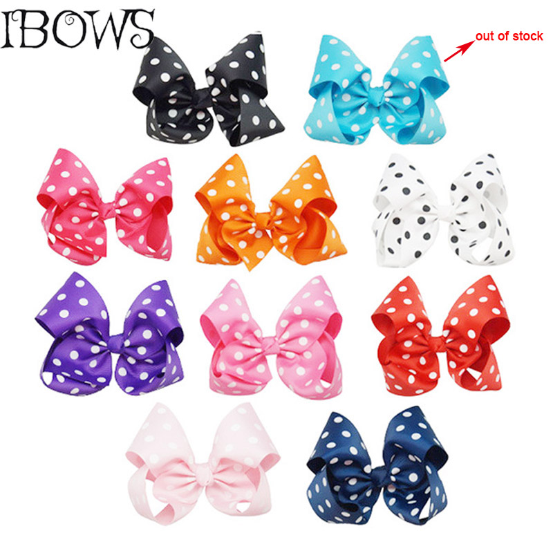 8 Big Dots Grosgrain Hair Bows With Alligator Clip For Women Girls Hairpins Boutique Handmade Headwear(Blue out of stock) women headwear rhinestone hair clip floral hair claw 8 5cm large size flower hair accessories for women