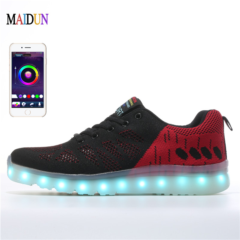 App control Adults LED Shoes For Parties Men Light Up Shoes With 7 Colors Neon Lights USB High Tops Glow Trend Luminous Glowing
