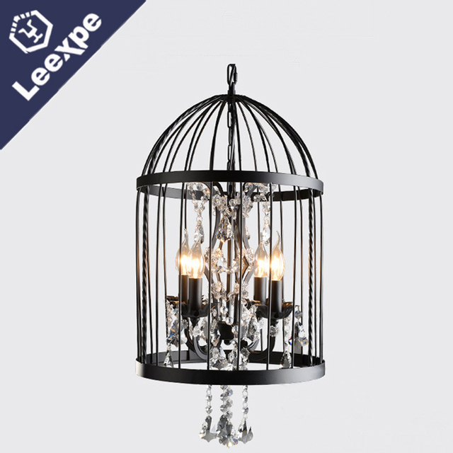 35 45cm Nordic Birdcage Crystal Chandeliers Lights Iron Cage Home Decor Vintage For Living Room