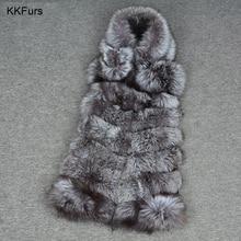 JKKFURS 2019 New Arrivals Women Real Silver Fox Fur Vest 7 Rows Winter Fashion Warm Hood Gilet Natural Waistcoat S7228