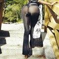Leggings mulheres 2017 moda sexy de seda Gelo transparente gloss Grande Sino perna Stovepipe aptidão leggins legging gótico