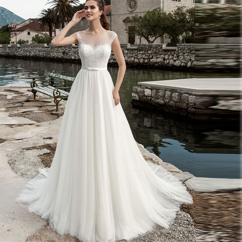 vintage beach wedding dress scoop neck tulle applique vestido de casamento custom size wedding gown sweep