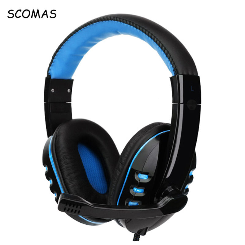 SCOMAS 3.5MM Gaming Headset LED Light Luminous Over-Ear Headphones with Microphone USB PC Computer Gamer Headband Headphone