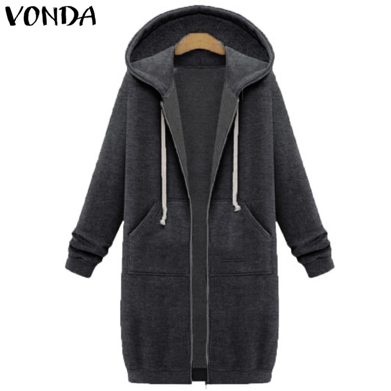 VONDA Women Pregnancy Casual Loose Hoodies Sweatshirts 2018 Long Sleeve Hooded Solid Tops Pregnant Pullovers Maternity Clothings casual style hooded long sleeve solid color zip design hoodie for women