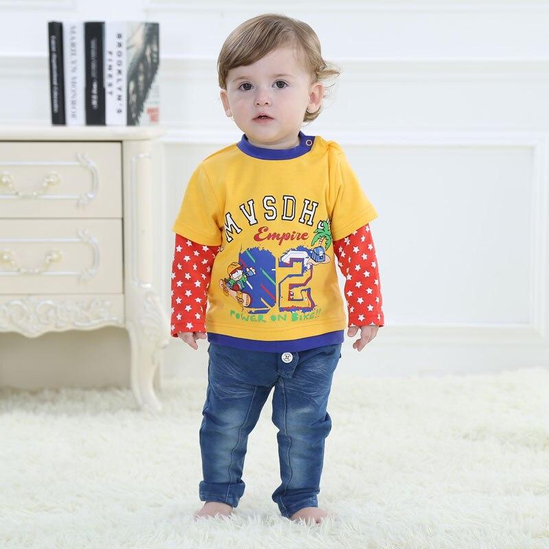Divat baba pamut póló hosszú ujjú csecsemő ruházat rajzfilm - Bébi ruházat