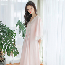 dd937ca26b7e8 Spring Cotton Long Nightgowns For Women Long Sleeve Chinese Royal Pink  Sleepwear V-neck Sexy