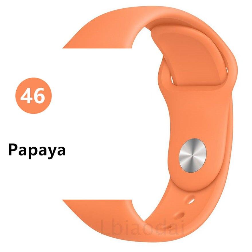 Ремешок для Apple Watch 38 мм 42 мм iWatch 4 ремешка 44 мм 40 мм спортивный силиконовый ремень браслет Apple watch 5 4 3 2 Аксессуары для ремешка - Цвет ремешка: Papaya