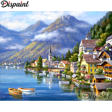 Dispaint Full Square/Round Drill 5D DIY Diamond Painting House boat Embroidery Cross Stitch 3D Home Decor A10512