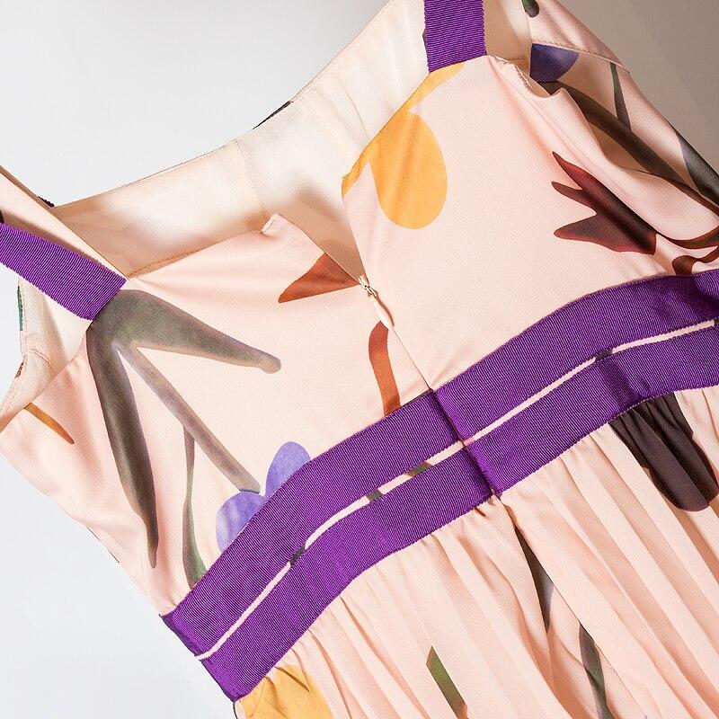 Femmes De Rose Cascade Plissée Robes Ruffle Strap Fête Sexy Arc Conception Floral 2019 Spaghetti Imprimé Tenue Robe D'été Bretelles vqY0v1w